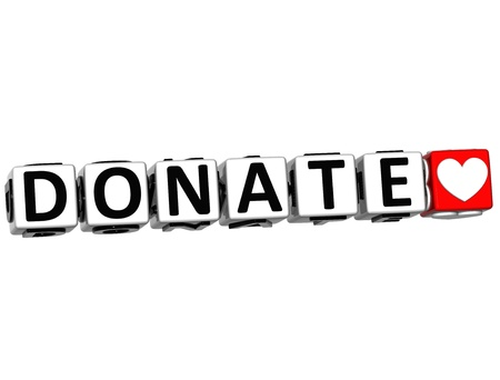 fundraiser: 3D Donate Button Click Here Block Text over white background
