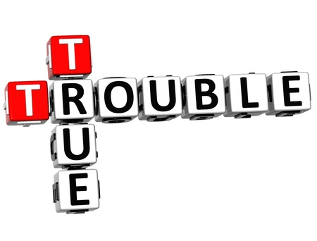 3D True Trouble Crossword on white background photo