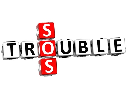 3D Trouble SOS Crossword on white background photo