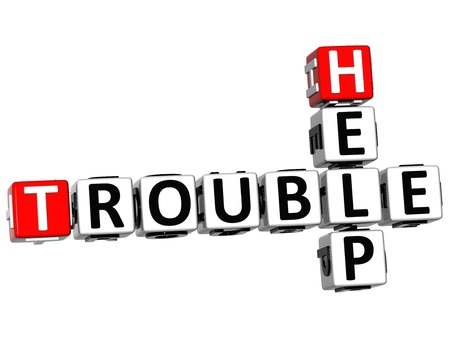 3D Help Trouble Crossword on white background photo