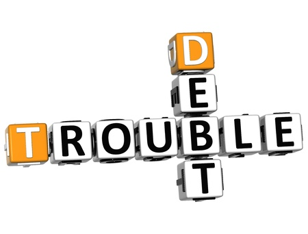 3D Debt Trouble Crossword on white background photo