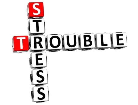 vision loss: 3D Stress Trouble Crossword on white background Stock Photo