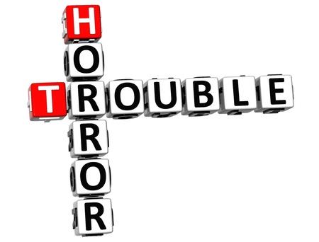 3D Horror Trouble Crossword on white background photo