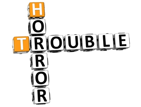 vision loss: 3D Horror Trouble Crossword on white background Stock Photo