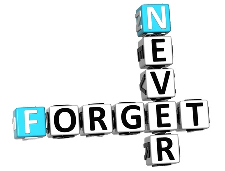 3D Never Forget Crossword on white background Stock Photo
