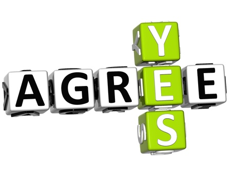 agree: 3D Yes Agree Crossword on white background