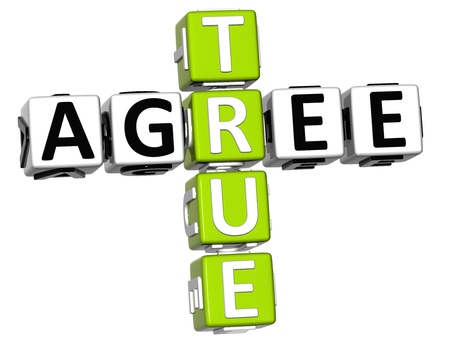 3D True Agree Crossword on white background photo