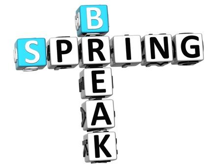 spring break: 3D Spring Break Crossword on white background