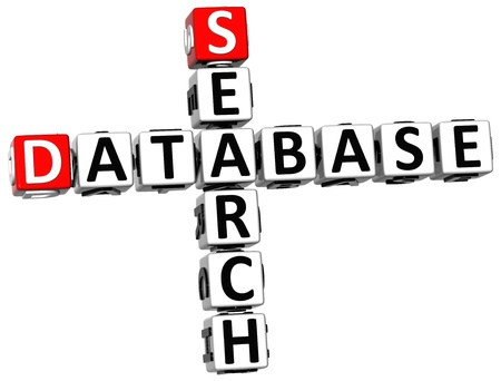 3D Database Search Crossword on white background Stock Photo - 14258115