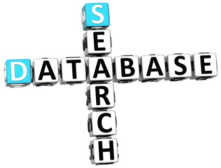 3D Database Search Crossword on white background Stock Photo - 14258114