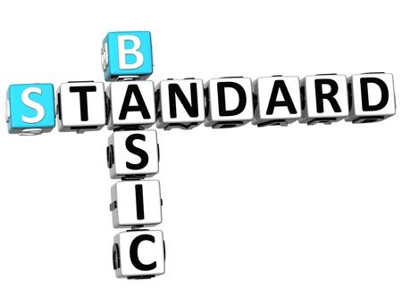 3D Basic Standard Crossword on white background photo