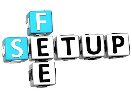 fee: 3D Setup Fee Crossword on white background