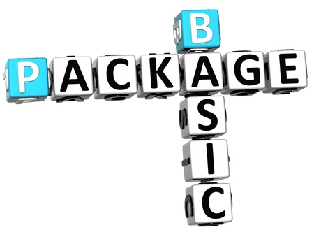 3D Basic Package Crossword on white background Stock Photo - 14320570