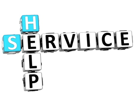 3D Help Service Crossword on white background Stock Photo - 14320438