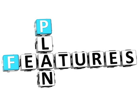 3D Features Plan Crossword on white background photo