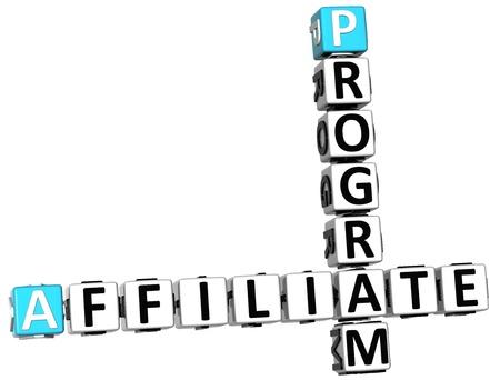 programs: 3D Affiliate Program Crossword on white background Stock Photo