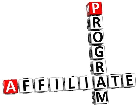 3D Affiliate Program Crossword on white background Stock Photo