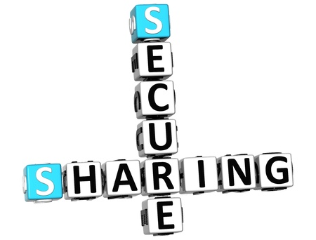 3D Sharing Secure Crossword on white background photo