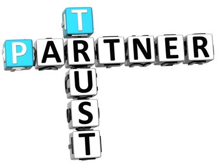 3D Trust Partner Crossword on white background Stock Photo - 14320560