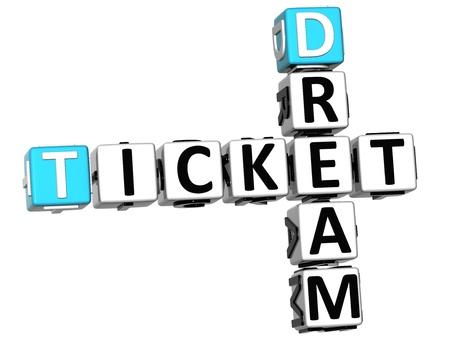 3D Dream Ticket Crossword on white background photo