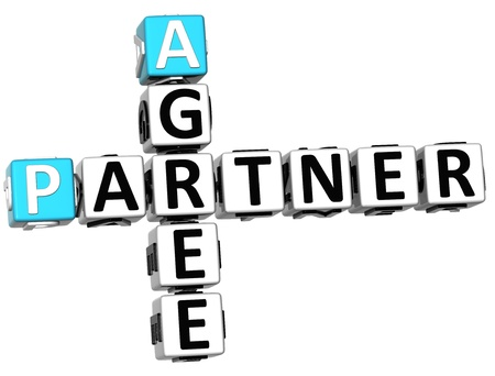3D Agree Partner Crossword on white background photo