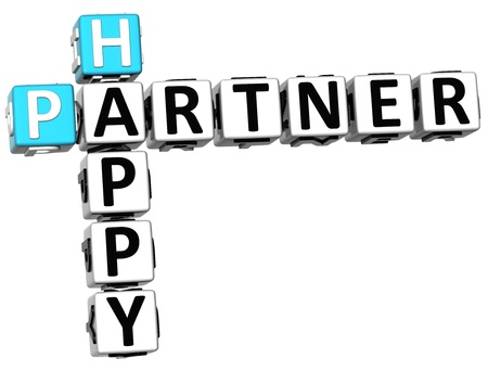 3D Happy Partner Crossword on white background photo