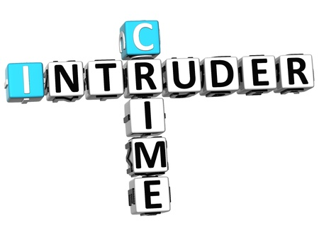 3D Crime Intruder Crossword on white background photo