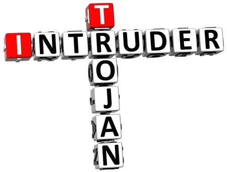 intruder: 3D Trojan Intruder Crossword on white background
