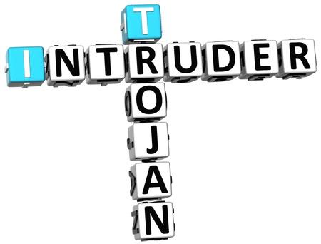 3D Trojan Intruder Crossword on white background photo