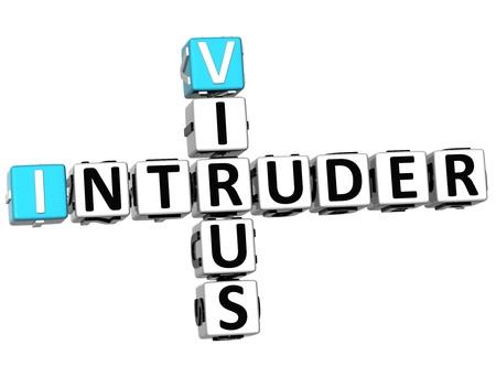 3D Virus Intruder Crossword on white background photo