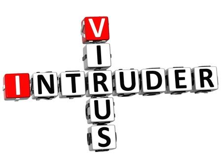 intruder: 3D Virus Intruder Crossword on white background