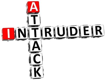 intruder: 3D Attack Intruder Crossword on white background