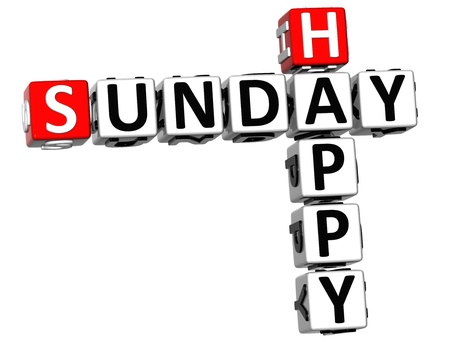3D Happy Sunday Crossword on white background photo