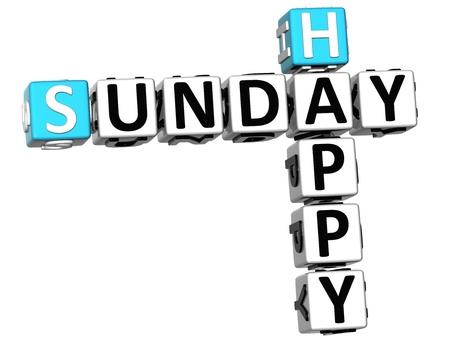 3D Happy Sunday Crossword on white background Stock Photo - 14320581