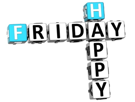 3D Happy Friday Crossword on white background photo
