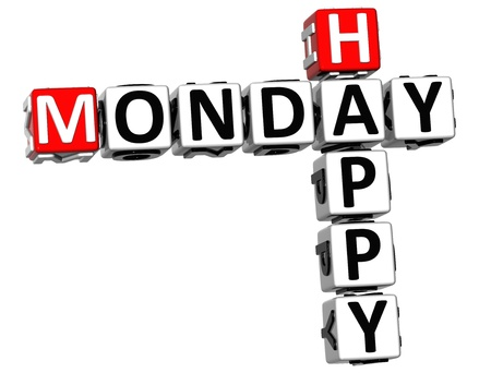 3D Happy Monday Crossword on white background
