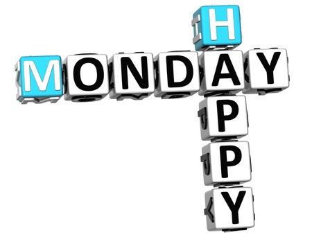 3D Happy Monday Crossword on white background Stock Photo - 14320589
