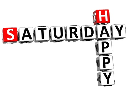3D Happy Saturday Crossword on white background photo
