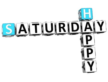 saturday: 3D Happy Saturday Crossword on white background Stock Photo