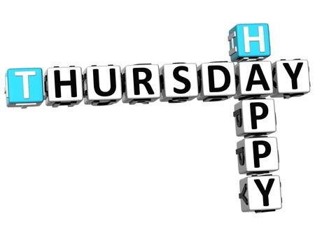 thursday: 3D Happy Thursday Crossword on white background