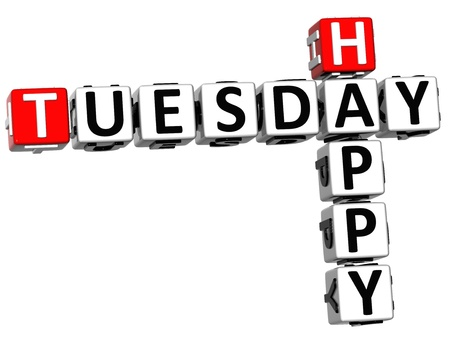 3D Happy Tuesday Crossword on white background photo