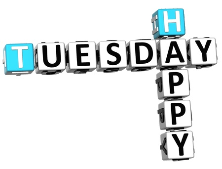 3D Happy Tuesday Crossword on white background Stock Photo - 14320558