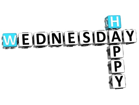3D Happy Wednesday Crossword on white background photo