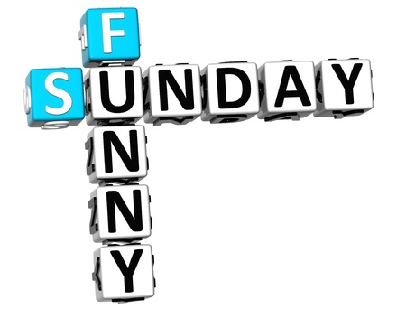 3D Funny Sunday Crossword on white background photo