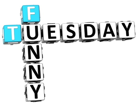 3D Funny Tuesday Crossword on white background photo