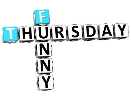 thursday: 3D Funny Thursday Crossword on white background