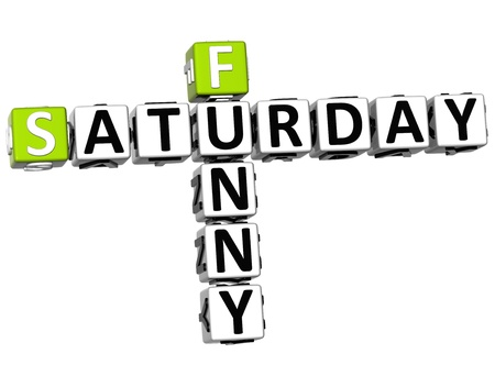 3D Funny Saturday Crossword on white background photo