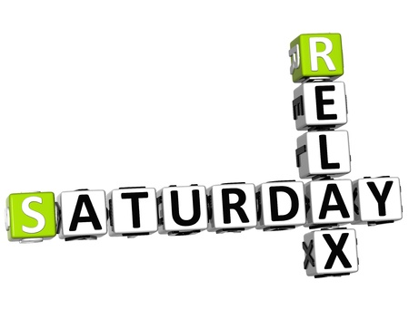 3D Relax Saturday Crossword on white background photo