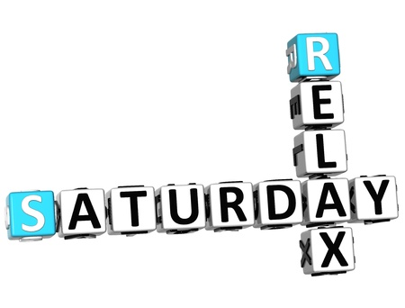 3D Relax Saturday Crossword on white background Stock Photo - 14320462