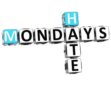 mondays: 3D Hate Mondays Crossword on white background